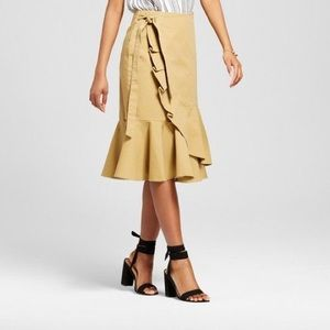 WHO WHAT WEAR Khaki Ruffle Wrap Skirt